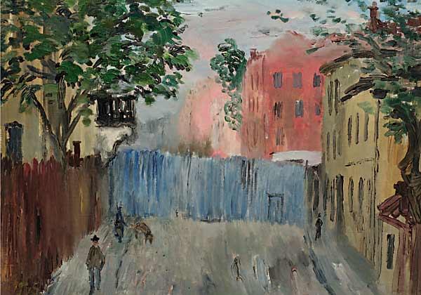 Розовый дом, голубой забор