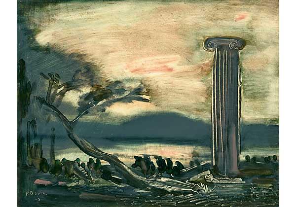 Paysage avec une colonne antique