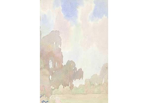 (Русский) Молочное утро (авторское название). Рисунок, вложенный в альбом 1922 года