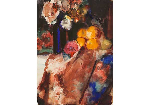 Still Life with a Blue Vase and Oranges