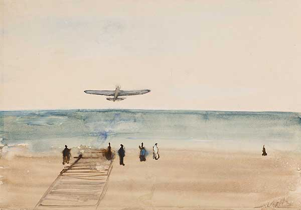 FROM THE «CRIMEA. ODESSA – BATUMI» SERIES. AIRPLANE OVER THE SEA.