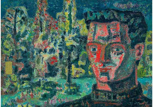 HEAD OF A YOUTH AGAINST THE BACKGROUND OF A FOREST
