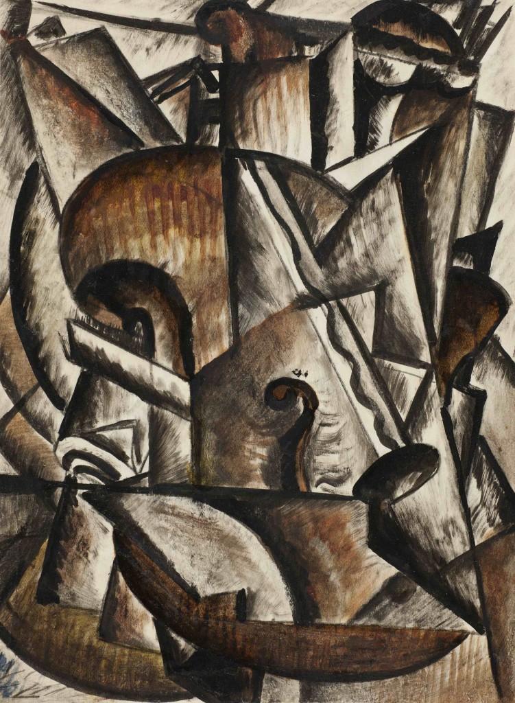 Соколов Михаил Ксенофонтович (1885 - 1947) Натюрморт со скрипкой из серии Музыкальные инструменты 1916-1918 Бумага, тушь, темпера 21,5 х 16