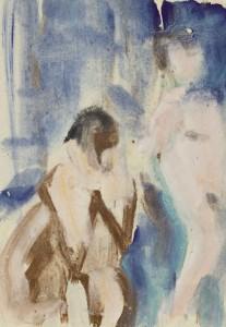 Чернышев Борис Петрович (1906-1969) Модели (две натурщицы). Серия 111 №2092 1967 Бумага, темпера